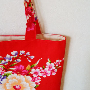台湾花布のマチなしバッグ(レッド・牡丹)