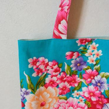 台湾花布のマチなしバッグ(ブルー・牡丹)
