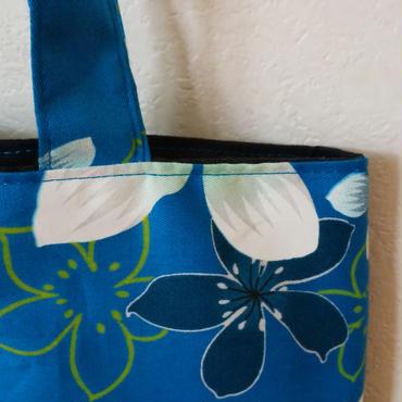台湾花布のマチなしバッグ(ブルー・油桐)