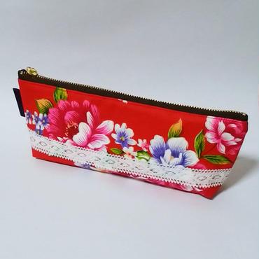 台湾花布のペンケース(レッド・牡丹)