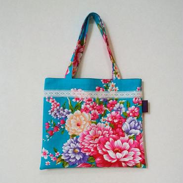 台湾花布のミニバッグ(ブルー・牡丹)