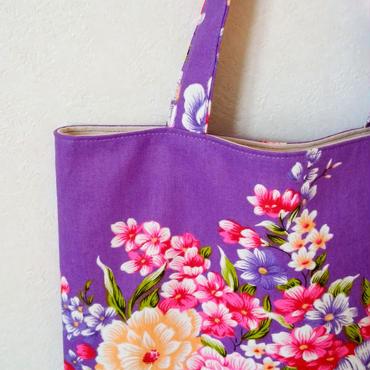 台湾花布のマチなしバッグ(パープル・牡丹)
