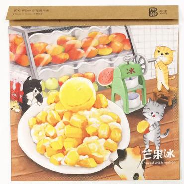 【BYC】マルチクロス(メガネふき)「猫&マンゴー氷」