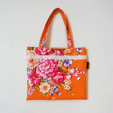 台湾花布のミニバッグ(オレンジ・牡丹)