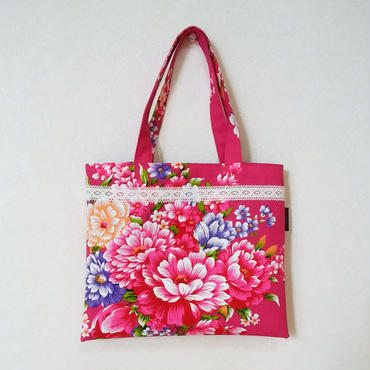 台湾花布のミニバッグ(ローズピンク・牡丹)