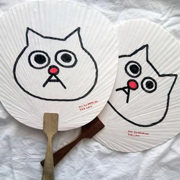 手描き一点モノシリーズ・猫の小林さんの手描き団扇!!夏!!
