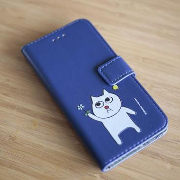「お花を持ってる猫の小林さん」の手帳型カバーiphone 7, 6, 6s対応 カード入れ 付き