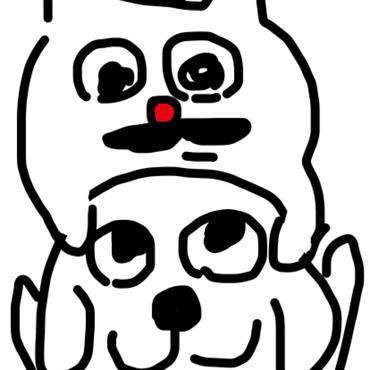 「猫の小林さんとラッシー犬しあわせ」の壁紙(無料)