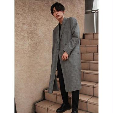 BARONIARU  HIGH-SLIT CHESTER COAT【GRY CHECK】