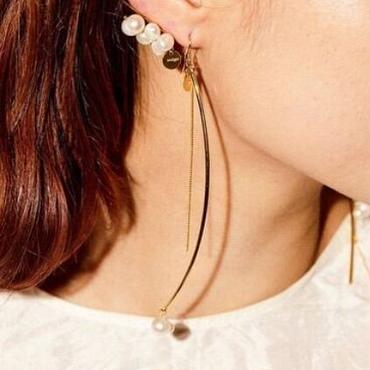 stem pearl earrings(片耳)