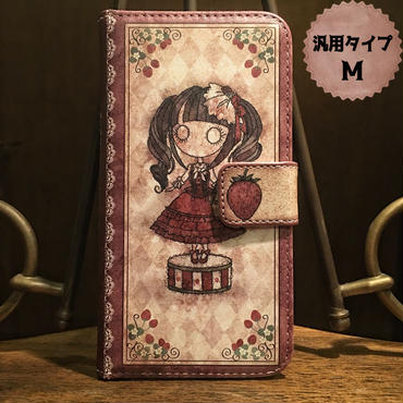 スマホMサイズ『首吊り苺』手帳型ケース