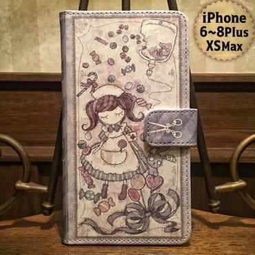 iPhone Plus 6~8,XS Max『致死量のキャンディー』手帳型ケース