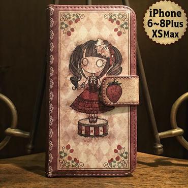 iPhone Plus 6~8,XS Max『首吊り苺』手帳型ケース