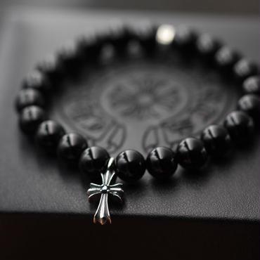 人気美品 クロムハーツ十字架 黒瑪瑙ブレスレット 16/18CM