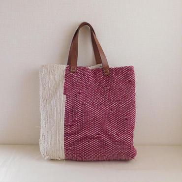 裂き織りバッグ あずき