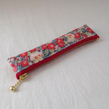 万年筆ケース 15cm 赤花