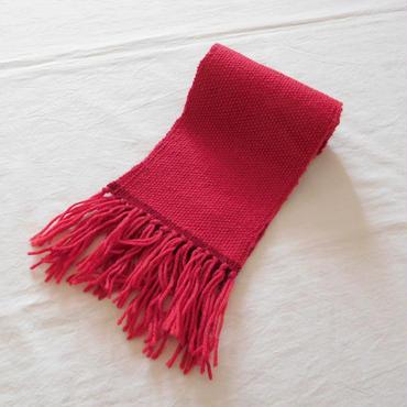 手織りマフラー サンゴ+赤