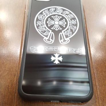 【送料無料】最新作 iPhone7 スマホケース ブラックミラーバージョン ホースシュー&クロス 【ChromeHeartsタイプ】クロムハーツ好き様へ 4.7インチ
