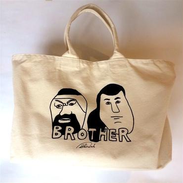 "SHINSUKE NAKAMURA ""BROTHER""キャンバスジップトートバッグ(white)ステッカー付"