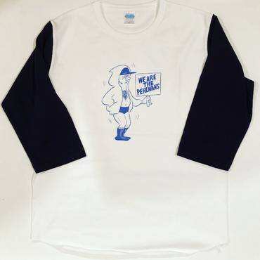 "[Ruminz]""WE ARE THE PEHLWANS "" baseball tee-shirt(white×navy)"