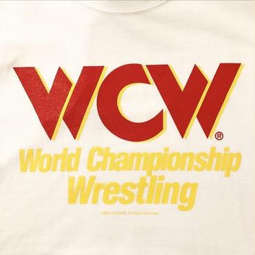 "【WWE】""WCW""  LOGO tee-shirt(white×red)"