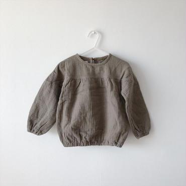 【送料無料】puff sleeve blouse(khaki)/キッズサイズ