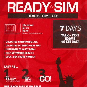 ready sim アメリカ プリペイドシム 7日間 500MB