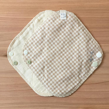 オーガニックコットン・ガーゼ 、布ライナー(茶・チェック)