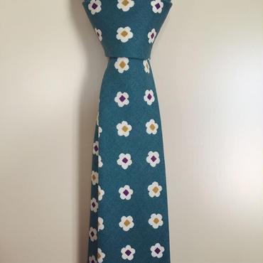 青緑小花柄ネクタイ