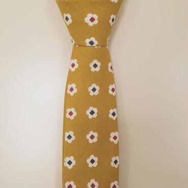 芥子色小花柄ネクタイ
