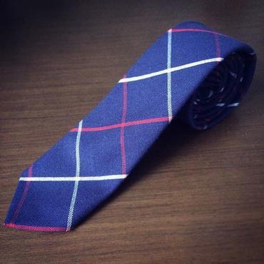 紺格子柄ネクタイ