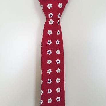 赤小花柄ネクタイ