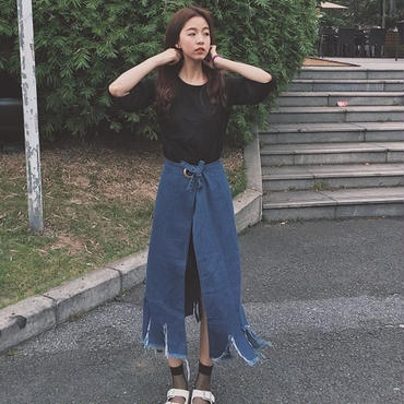 長袖T+スカート