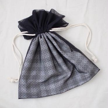 巾着バッグ(ブラックチュール)