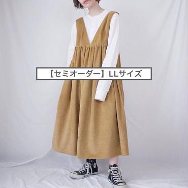 【セミオーダー】(LL)ハイウエスト切替コーデュロイ ジャンパースカート