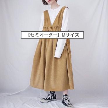 【セミオーダー】(M)ハイウエスト切替コーデュロイ ジャンパースカート