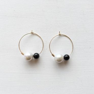淡水真珠:pearl×onyx hoop pierce