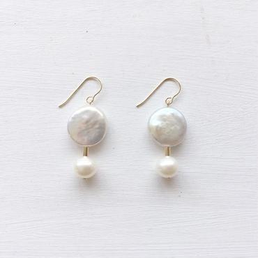 淡水真珠:W pearl pierce[K14GF]