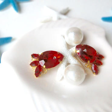 gold fish bijou pierce♡真っ赤な金魚のビューピアス♡