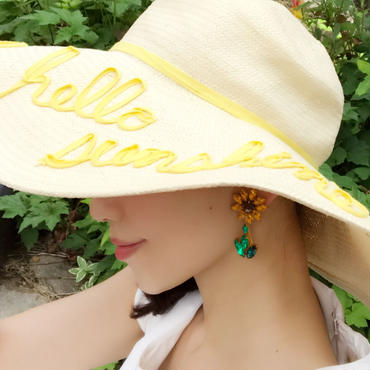 swing sunflower bijou pierce♡ゆらゆらひまわりビジューピアス♡