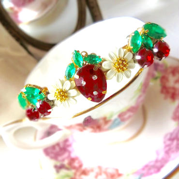 strawberry&cherry hair accessory♡さくらんぼと苺のキラキラヘアバレッタ♡