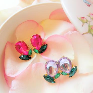 人気♪Tulip bijou pierce♡チューリップのビジューピアス♡ピンク&ラベンダー♡