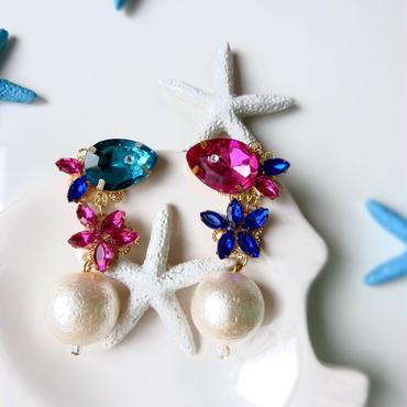 tropical fish&sea star pierce♡熱帯魚とヒトデのゆらゆらピアス♡