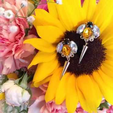 bijou bee pierce&earring☆大きな針がゆらゆら蜂さんビジューピアス☆