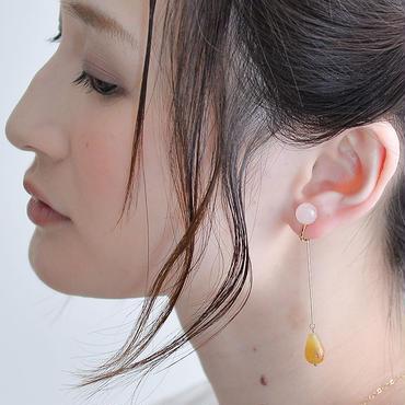 FLOW Earring PINK RoseQuartz フローイヤリング ピンク ローズクォーツ