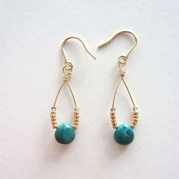 【UE032】Turquoise Gold Drop Earring14KGF(ターコイズゴールドドロップ ピアス)