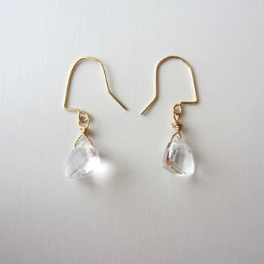 【UE076】 Triangle White Topaz Earring 14KGF(トライアングルホワイトトパーズピアス)