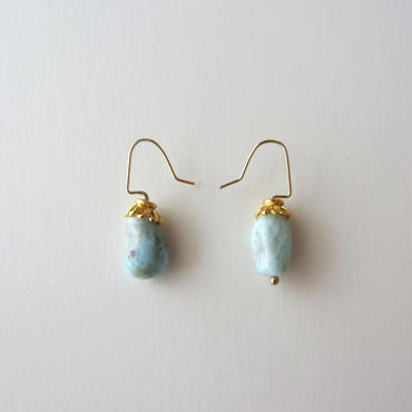 【UE088】Larimar Gold Earring 14KGF(ラリマーゴールドピアス)
