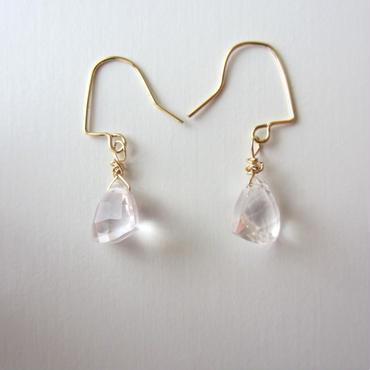 【UE077】 Triangle Rose Quartz Earring 14KGF(トライアングルローズクオーツピアス)
