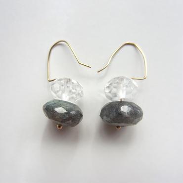 【UE041】Labradorite,Crystal Earring 14KGF(ラブラドライト、クリスタル ピアス)